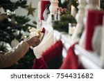 christmas stockings are hanging ... | Shutterstock . vector #754431682