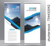 blue roll up business...   Shutterstock .eps vector #754433542