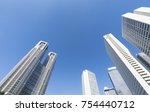 shinjuku skyscraper and blue... | Shutterstock . vector #754440712