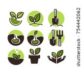 gardening and planting icons... | Shutterstock .eps vector #754442062