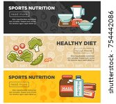 sport nutrition and fitness... | Shutterstock .eps vector #754442086
