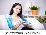 a young woman with fresh... | Shutterstock . vector #75444352