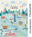 lovely taiwan travel concept ... | Shutterstock .eps vector #754444498