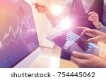 two colleagues working on...   Shutterstock . vector #754445062