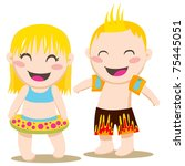 blond girl and boy ready to... | Shutterstock .eps vector #75445051