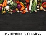 border of fresh organic... | Shutterstock . vector #754452526