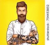 pop art illustration of a... | Shutterstock . vector #754453852