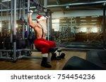 santa claus bodybuilder... | Shutterstock . vector #754454236