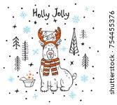 holly jolly merry christmas... | Shutterstock .eps vector #754455376