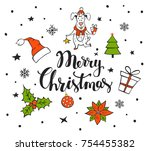 merry christmas handwritten... | Shutterstock .eps vector #754455382