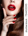 fashion woman portrait on black ... | Shutterstock . vector #754455595