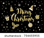 merry christmas handwritten... | Shutterstock .eps vector #754455955