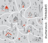 vector seamless pattern with... | Shutterstock .eps vector #754466845