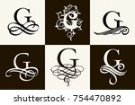 vintage set . capital letter g... | Shutterstock .eps vector #754470892