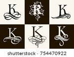 vintage set . capital letter a... | Shutterstock .eps vector #754470922