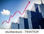 abstract chart with skyscraper background and blue sky - stock photo