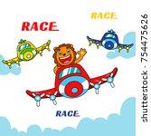 lion pilot flying a plane ...   Shutterstock .eps vector #754475626