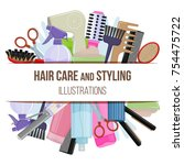 set of colorful equipments for... | Shutterstock . vector #754475722