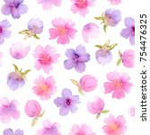 floral seamless pattern with... | Shutterstock . vector #754476325