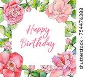 wildflower camellia flower... | Shutterstock . vector #754476388