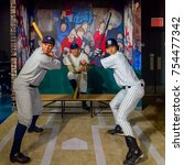 Small photo of NEW YORK, USA - SEP 16, 2017: Yankee baseball players, Madame Tussauds NY wax museum.