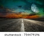 asphalted road at sunset | Shutterstock . vector #754479196