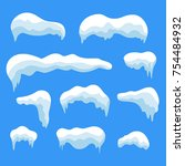 snow ice icicle set winter... | Shutterstock .eps vector #754484932