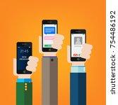 hand holding smartphones  | Shutterstock .eps vector #754486192