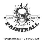 paintball club 2018 monochrome... | Shutterstock .eps vector #754490425