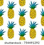 Watercolor Yellow Pineapples ...