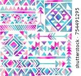 watercolor tribal motifs on... | Shutterstock . vector #754491295