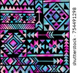watercolor tribal motifs on... | Shutterstock . vector #754491298