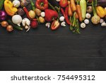border of fresh organic... | Shutterstock . vector #754495312