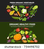 healthy organic food... | Shutterstock .eps vector #754498702