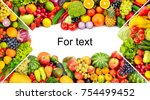 frame of vegetables and fruits... | Shutterstock . vector #754499452