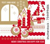stylized christmas card with a... | Shutterstock .eps vector #754499686