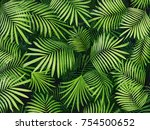 green tropical leaves... | Shutterstock . vector #754500652