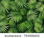 green tropical leaves... | Shutterstock . vector #754500652