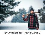 christmas hipster lumberjack... | Shutterstock . vector #754502452