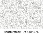 vector pattern of elements for... | Shutterstock .eps vector #754504876