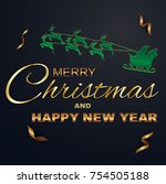 merry christmas and happy new... | Shutterstock .eps vector #754505188
