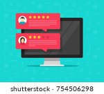 computer with customer review... | Shutterstock .eps vector #754506298