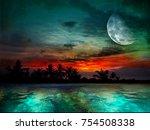 magical evening on the ocean... | Shutterstock . vector #754508338