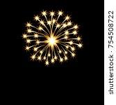 festive golden bright fireworks ... | Shutterstock .eps vector #754508722