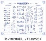 vector set of valentine corners ... | Shutterstock .eps vector #754509046