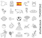 spain line icon set.vector | Shutterstock .eps vector #754509262