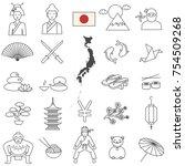 japan line icon set.vector   Shutterstock .eps vector #754509268