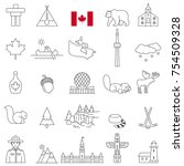 canada line icon set.vector | Shutterstock .eps vector #754509328