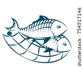 several fish in the network... | Shutterstock .eps vector #754517146