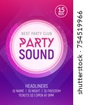electro dance party music night ... | Shutterstock .eps vector #754519966